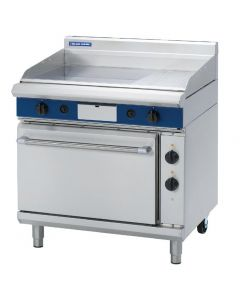 This is an image of a Blue Seal Evolution LPG Gas 13 Ribbed Chrome Griddle Electric Static Oven Nat Gas GPE506L