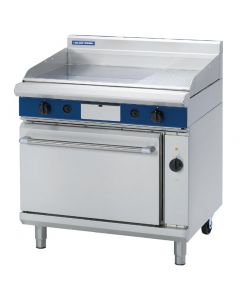 This is an image of a Blue Seal Evolution Nat Gas 13 Ribbed Griddle Electric Convection Oven 900mm GPE56N