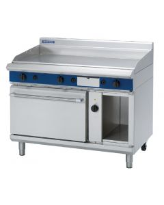 This is an image of a Blue Seal Evolution LPG Chrome Griddle Electric Convection Oven 1200mm GPE58L