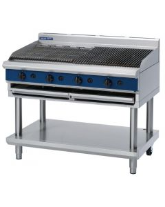 This is an image of a Blue Seal Evolution Chargrill with Leg Stand Nat Gas 1200mm G598-LSN