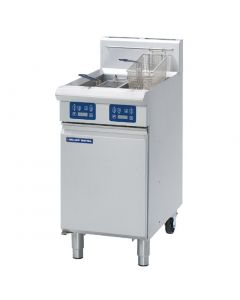 This is an image of a Blue Seal Evolution Vee Ray Twin Tank Fryer with Elec Controls Nat Gas450mm GT46EN
