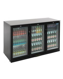 This is an image of a Polar Back Bar Cooler with Hinged Doors in Black 330Ltr