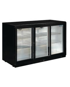 This is an image of a Polar Back Bar Cooler with Sliding Doors in Black 330Ltr