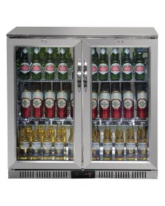 This is an image of a Polar Back Bar Cooler with Hinged Doors in Stainless Steel 208Ltr