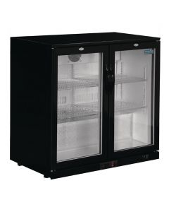 This is an image of a Polar REFRIGERATED Double Hinged Door Back Bar Cooler 850mm - Black