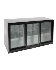 This is an image of a Polar REFRIGERATED Triple Sliding Door Back Bar Cooler 850mm - Black