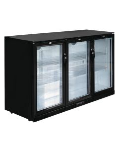 This is an image of a Polar Refrigerated Triple Hinged Door Back Bar Cooler 850mm - Black
