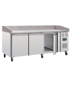 This is an image of a Polar Bakery Prep Counter 3 Door with Marble Work Surface