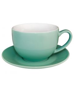 This is an image of a Olympia Cafe Cappuccino Cup Aqua - 340ml 12oz (Box 12)