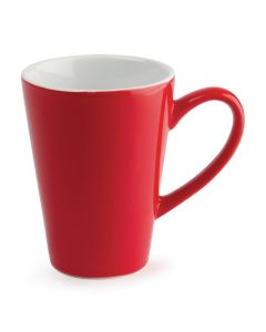 This is an image of a Olympia Cafe Latte Cup Red - 340ml 12oz (Box 12)