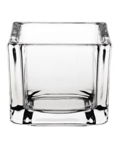 This is an image of a Olympia Glass Tealight Holder Square Clear (Box 6)
