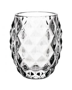 This is an image of a Olympia Glass Diamond Tealight Holder Clear (Box 6)