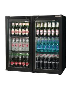 This is an image of a Autonumis Popular Double Hinged Door 3Ft Back Bar Cooler Black A215179
