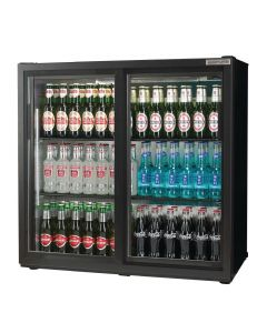 This is an image of a Autonumis Popular Double Sliding Door 3Ft Back Bar Cooler Black A215186