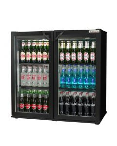 This is an image of a Autonumis Popular Double Hinged Door Maxi Back Bar Cooler Black A21089