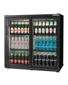 This is an image of a Autonumis Popular Double Sliding Door Maxi Back Bar Cooler Black A21094