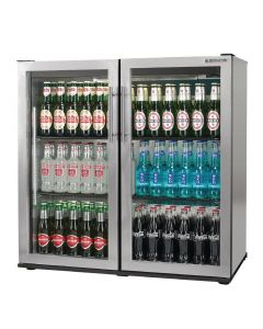 This is an image of a Autonumis Popular 2 Hinged Door Maxi Back Bar Cooler StSt A210107