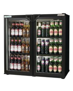 This is an image of a Autonumis EcoChill Double Hinged Door 3Ft Back Bar Cooler Black A215189