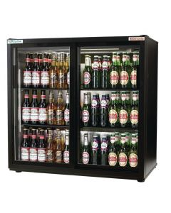 This is an image of a Autonumis EcoChill Double Sliding Door 3Ft Back Bar Cooler Black A215191