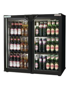 This is an image of a Autonumis EcoChill Double Hinged Door Maxi Back Bar Cooler Black A21096