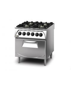 This is an image of a Q90 4 Burner Open Burner Range with Electric 21GN Oven LPG Gas Q4CFGEA