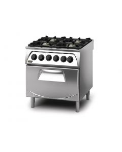 This is an image of a Q90 4 Burner Open Burner Range with Electric 21GN Oven LPG Gas Q4CFGEC