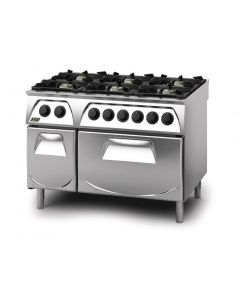 This is an image of a Q90 6 Burner Open Burner Range with Electric 21GN Oven and Cupboard LPG Gas Q6CFGEA