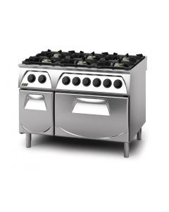 This is an image of a Q90 6 Burner Open Burner Range with Electric 21GN Oven and Cupboard LPG Gas Q6CFGEB