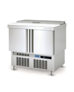 This is an image of a Lec 2 Door Saladette Counter with Lidded Topping Unit