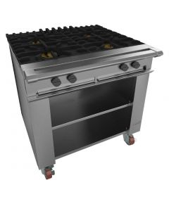This is an image of a Falcon Chieftain 4 Burner Boiling Table on Castors LPG G1026X