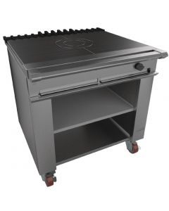 This is an image of a Falcon Chieftain Single Bullseye Solid Top Boiling Table with Castors Natural Gas G1026BX