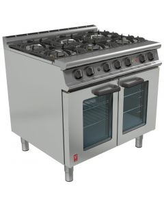 This is an image of a Falcon Dominator Plus 6 Burner Range with Electric Fan-Assisted Oven NAT(Direct)
