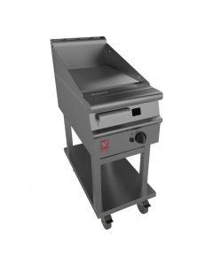This is an image of a Falcon Dominator Plus 400mm Wide Ribbed Griddle on Mobile Stand Nat Gas(Direct)
