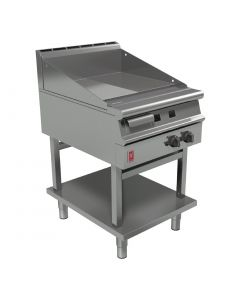 This is an image of a Falcon Dominator Plus 600mm Wide Half Ribbed Griddle on Fixed Stand NAT (Direct)