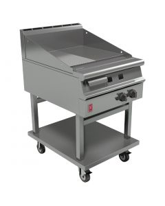 This is an image of a Falcon Dominator Plus 600mm Wide Half Ribbed Griddle on Mobile Stand Natural Gas G3641R