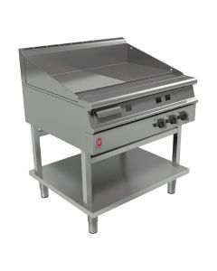 This is an image of a Falcon Dominator Plus 900mm Wide Half Ribbed Griddle on Fixed Stand NAT (Direct)
