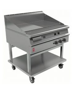 This is an image of a Falcon Dominator Plus 900mm Wide Half Ribbed Griddle on Mobile Stand LPG G3941R