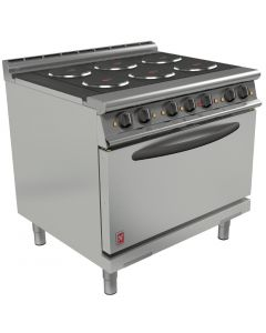 This is an image of a Falcon Dominator Plus 6 Hotplate Electric Oven Range with Drop Down Door(Direct)