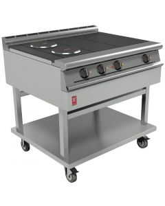 This is an image of a Falcon Dominator Plus 4 Hotplate Boiling Table With Castors E3121