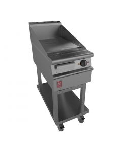 This is an image of a Falcon Dominator Plus 400mm Wide Ribbed Griddle on Mobile Stand (Direct)