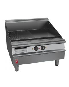 This is an image of a Falcon Dominator Plus 800mm Wide Half Ribbed Electric Griddle (Direct)