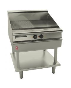 This is an image of a Falcon Dominator Plus 800mm Wide Half Ribbed Elec Griddle on Fixed Stand(Direct)