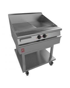 This is an image of a Falcon Dominator Plus 800mm Wide Half Ribbed Griddle on Mobile Stand (Direct)