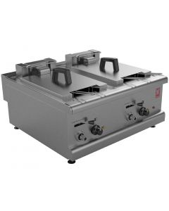 This is an image of a Falcon 350 Series Countertop Twin Pan Four Basket Electric Fryer (Direct)