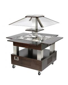 This is an image of a Roller Grill Chilled Salad Bar Square Dark Wood