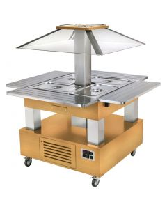 This is an image of a Roller Grill Chilled Salad Bar Square Light Wood