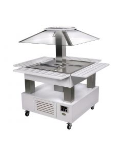 This is an image of a Roller Grill Heated Salad Bar Square White Wood