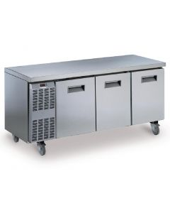 This is an image of a Electrolux Benefit Line Freezer Counter 3 Door 415Ltr StSt Castors RCSF3M3UK