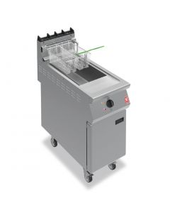 This is an image of a Falcon F900 Twin Basket Fryer with Filtration On Castors Propane Gas (Direct)