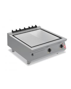 This is an image of a Falcon F900 800mm Half-Ribbed Steel Griddle E9581R
